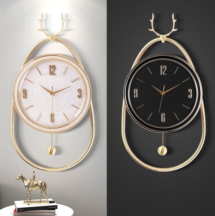樂天優選 快速出貨 北歐鹿頭鐘錶掛鐘客廳家用鐘飾現代簡約大氣掛錶輕奢裝飾時鐘掛牆