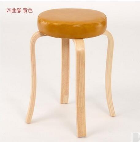 樂天優選 快速出貨 創意家用高腳凳子多功能餐椅小板凳實木小椅客廳沙發凳圓凳(主圖款四曲腳 黃色)
