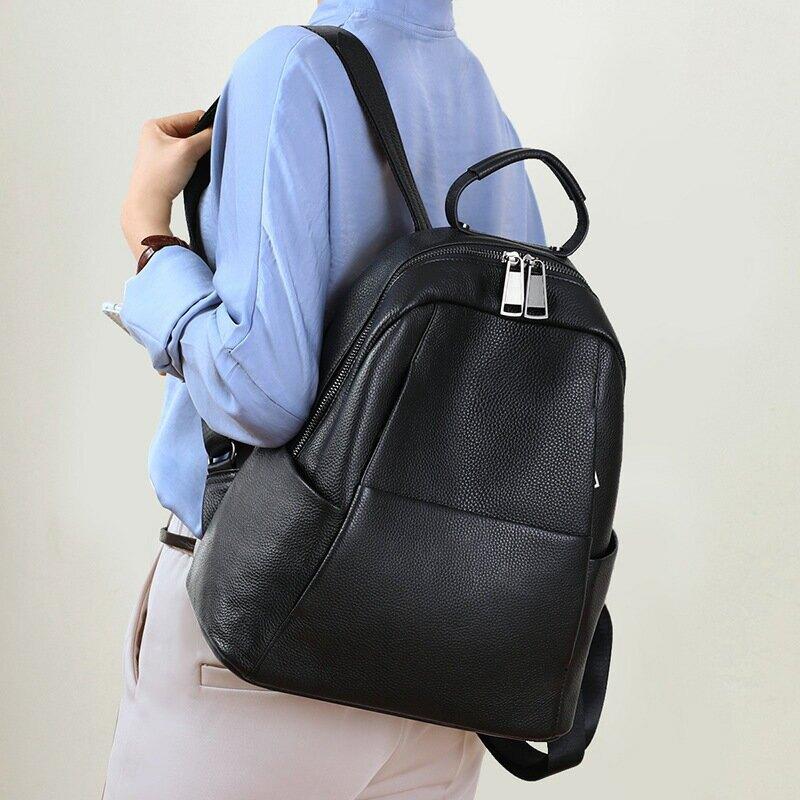 真皮雙肩包新款潮時尚2021休閒韓版書包女大容量揹包