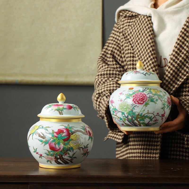茶葉罐陶瓷密封罐手工窯變釉家用防潮酒柜裝飾玄關收納擺件