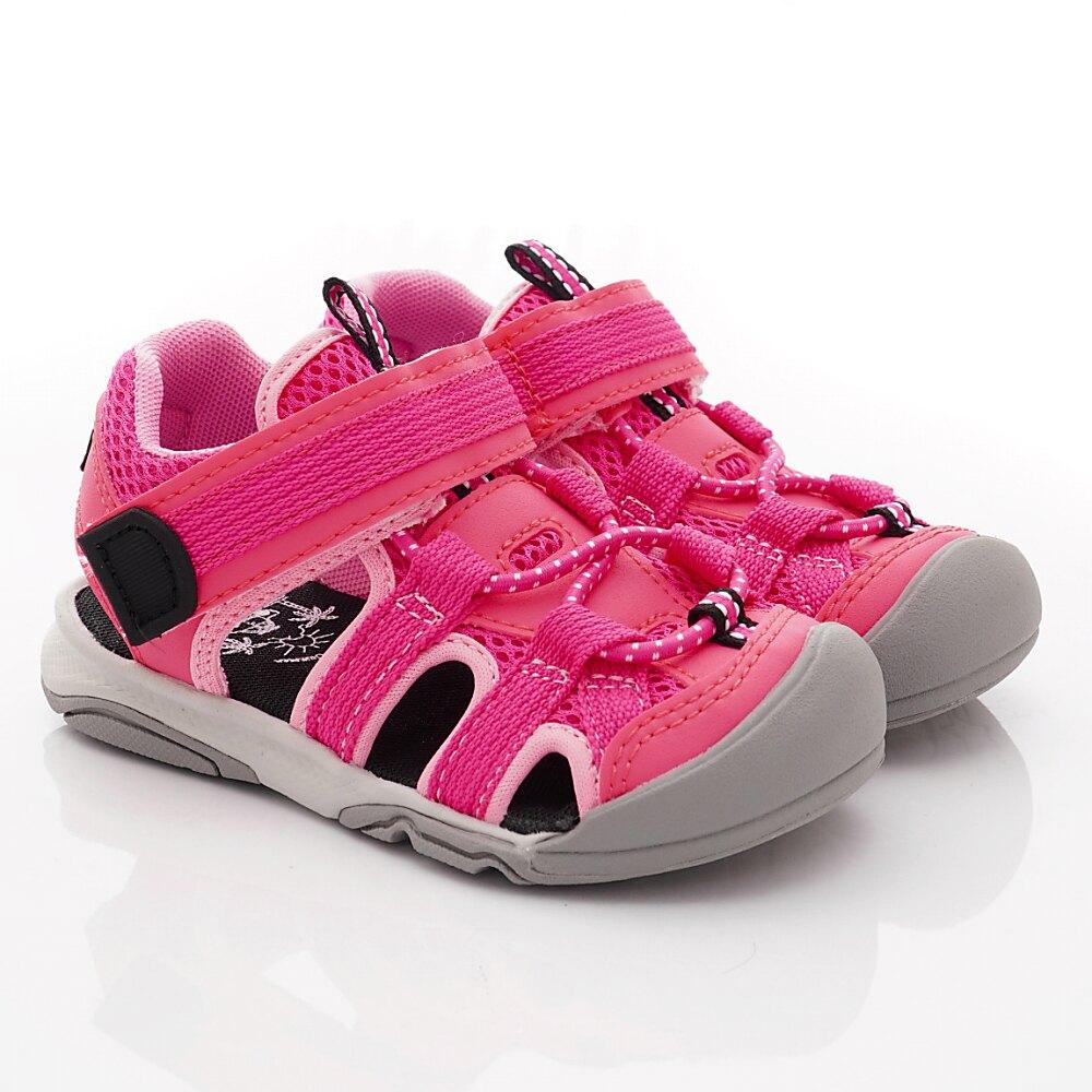 日本月星Moonstar機能童鞋頂級學步系列軟式彎曲護趾涼鞋款003C4粉(中小童段)