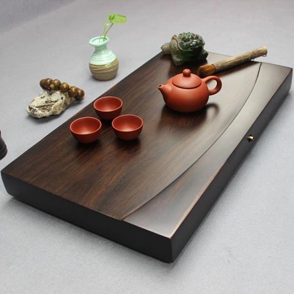 茶盤 茶盤整塊黑檀木茶盤實木茶臺長方形原木家用茶海大號排水簡約功夫茶具