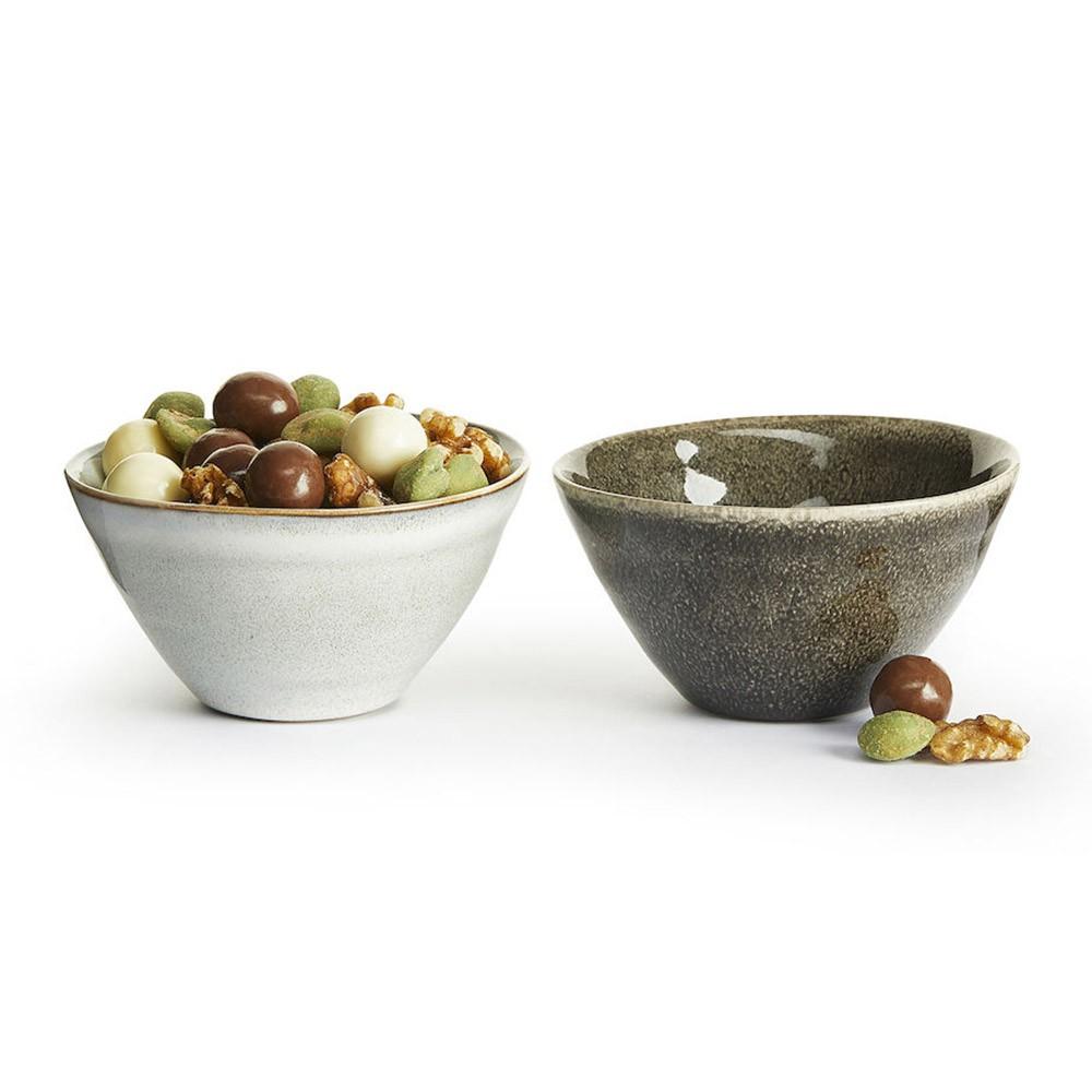 【瑞典sagaform】 Nature炻釉彩小餐碗(2入)-淺灰/深灰《泡泡生活》