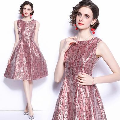 時尚光澤紅粉提花無袖洋裝小禮服M-2XL-M2M