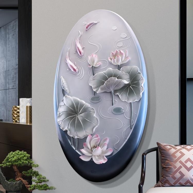 玄關裝飾畫現代簡約豎版3d立體浮雕招財過道壁畫進門走廊圓形掛畫 尺寸:82*134 MKS免運
