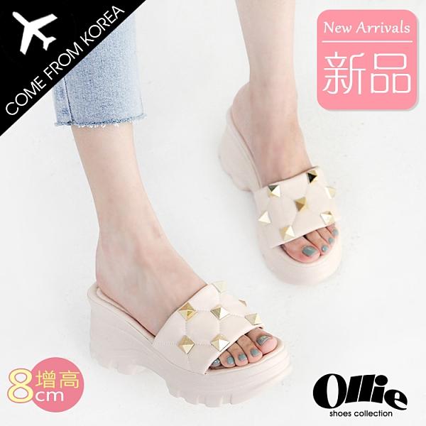韓國Ollie 韓國空運 個性鉚釘造型 舒適柔軟內襯 8cm增高涼拖鞋【F720761】版型正常/SD韓美鞋
