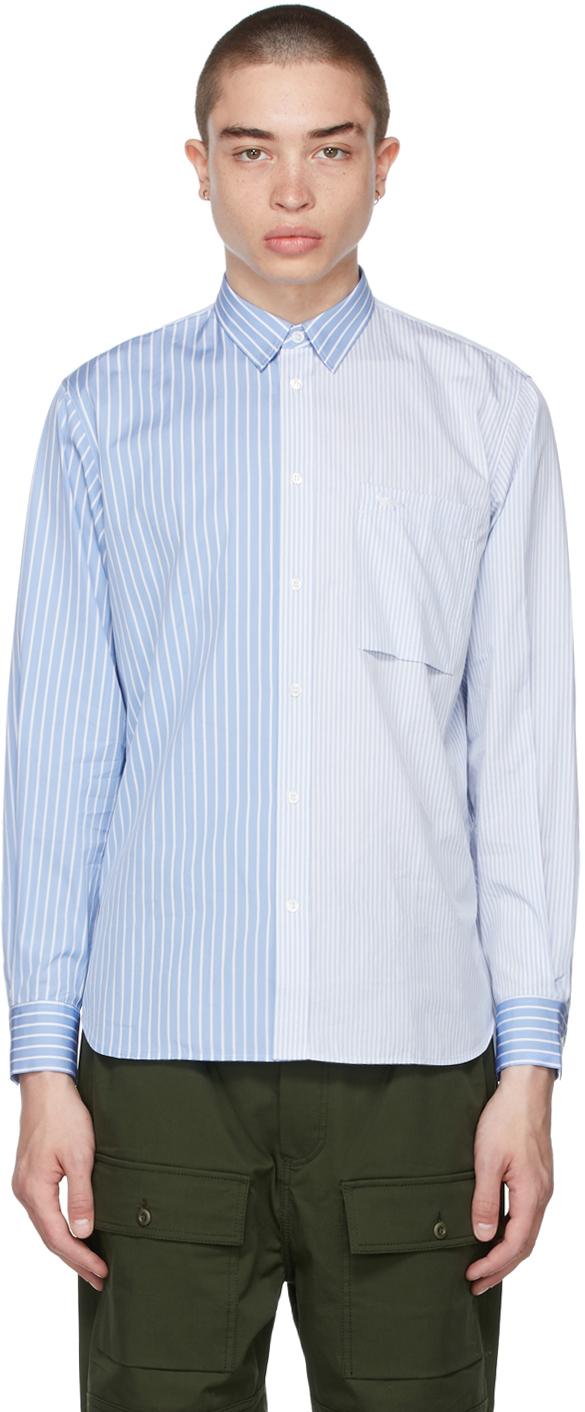 Maison Kitsuné 蓝色 & 白色 Regular One Pocket 衬衫