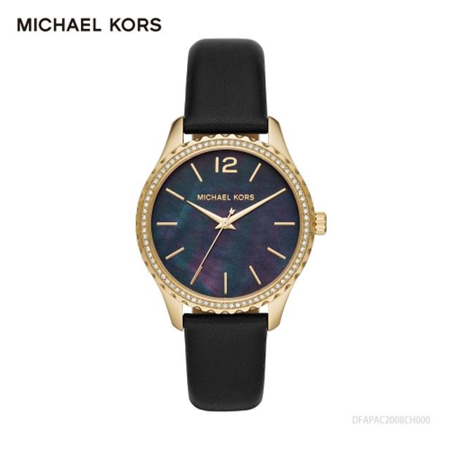 MICHAEL KORS珍珠母貝深藍個性皮帶腕錶MK2911
