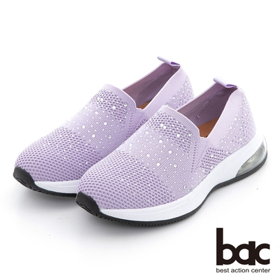 【bac】包覆感飛織水鑽休閒鞋-紫色