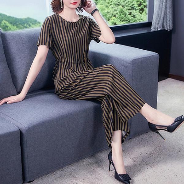 M-4XL胖妹妹大碼套裝~大碼女裝收腰顯瘦系帶純棉印花闊腿褲短袖上衣兩件套裝2F031B莎菲娜