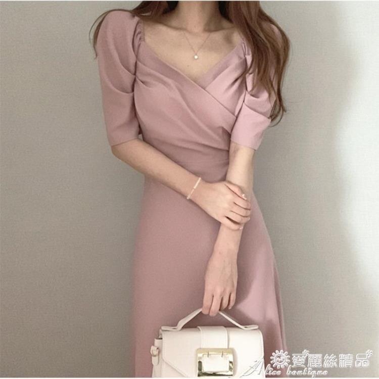 雪紡洋裝 夏季韓國chic法式顯瘦v領小心機收腰泡泡袖雪紡連身裙長裙女神范