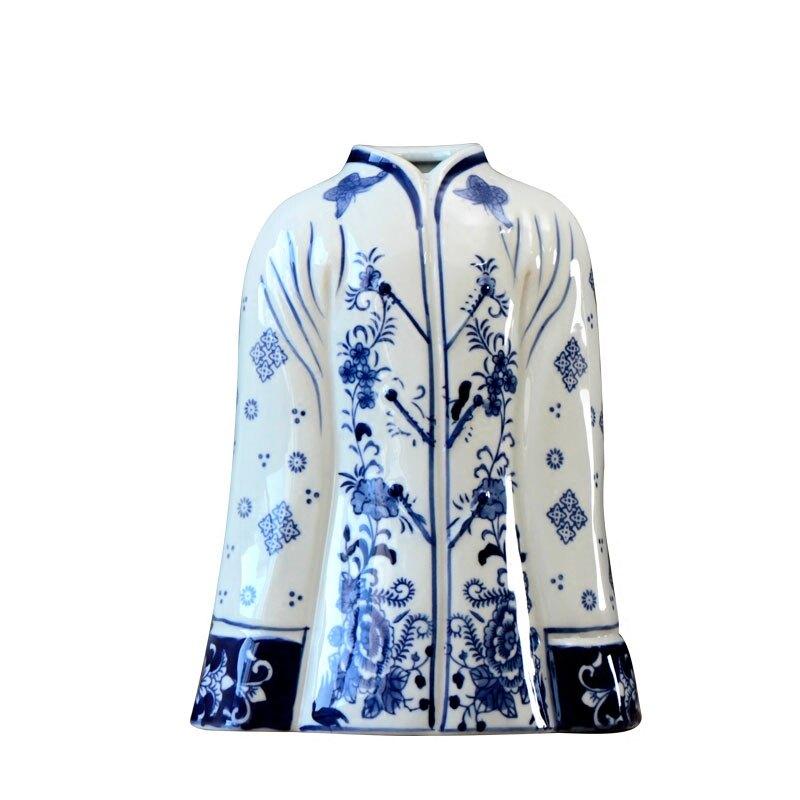 新中式創意花紋陶瓷仿古青花瓷花瓶客廳插花復古擺件樣板間