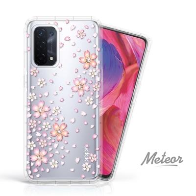 Meteor OPPO A74 5G 奧地利水鑽彩繪防摔殼 - 櫻花