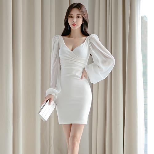 S-L名模風韓版氣質顯瘦V領包臀連身裙洋裝名媛禮服裙(單色白色)-凱西娃娃