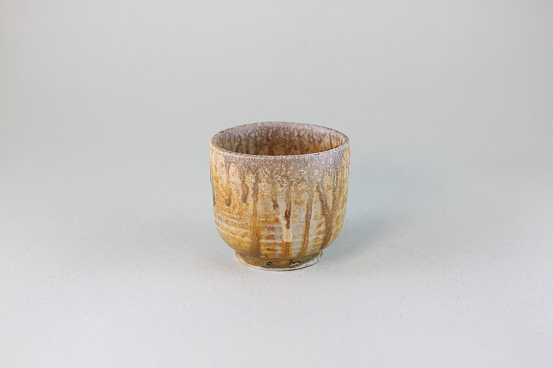 流釉橫紋茶杯 鶯歌名家葉敏祥柴燒作品