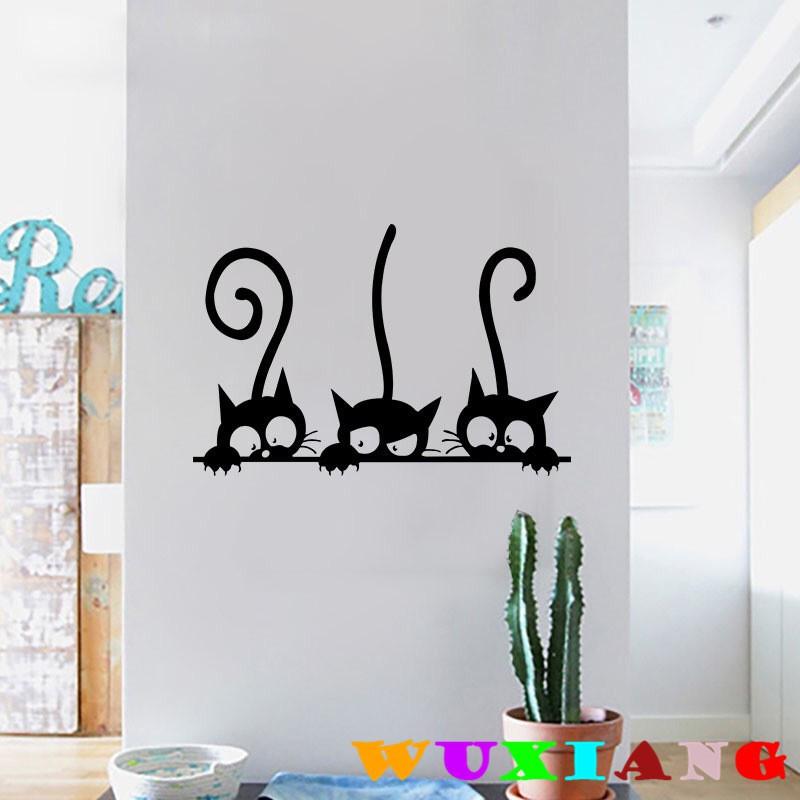 【五象設計】DIY 壁貼 三隻搞笑貓咪 黑色卡通牆貼 房間裝飾 客廳臥室兒童房牆貼紙 裝飾畫