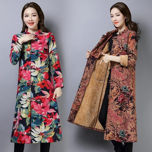 M-3XL實拍秋冬民族風女裝復古棉襖長版加絨保暖棉衣唐裝外套(三色)-凱西娃娃