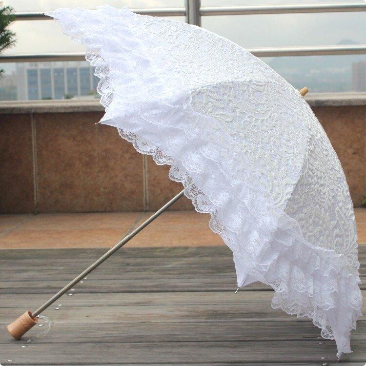 樂天優選 快速出貨 黑膠二折疊雙層蕾絲純白色防紫外線公主傘太陽傘晴雨傘遮陽洋傘