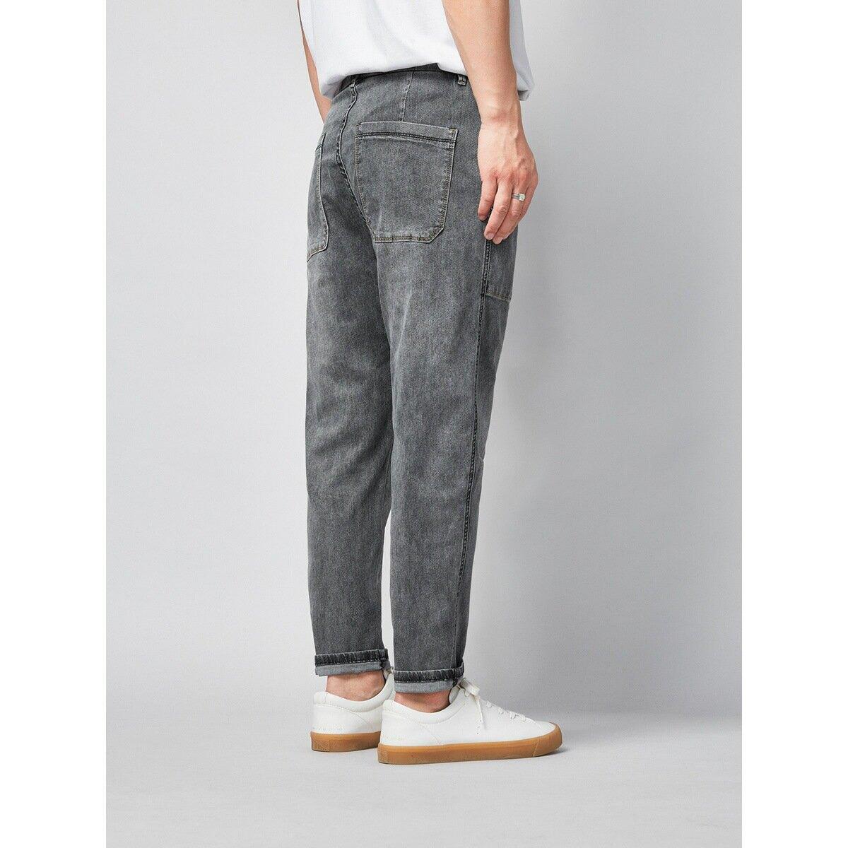 男裝2021春季新款寬鬆男士牛仔褲鬆緊中腰小直筒褲子男