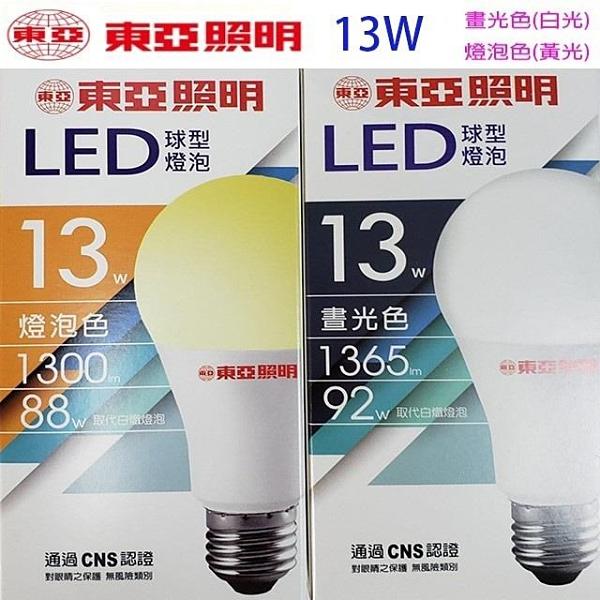 【南紡購物中心】【5入組】東亞 13W LED球型燈泡(白光/黃光)