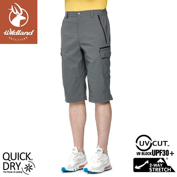 【Wildland 荒野 男 彈性抗UV貼袋七分褲《礦石岩》】0A91370/防曬褲/運動褲/休閒褲/跑步