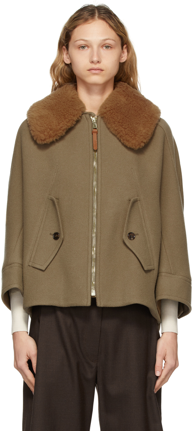 Chloé 灰褐色 Cape-Style 夹克