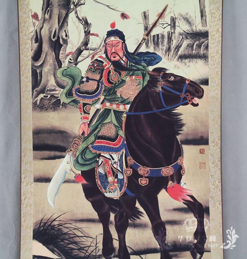 收藏仿古字畫國畫山水畫中堂畫辦公室客廳裝飾畫已裝裱關公騎馬