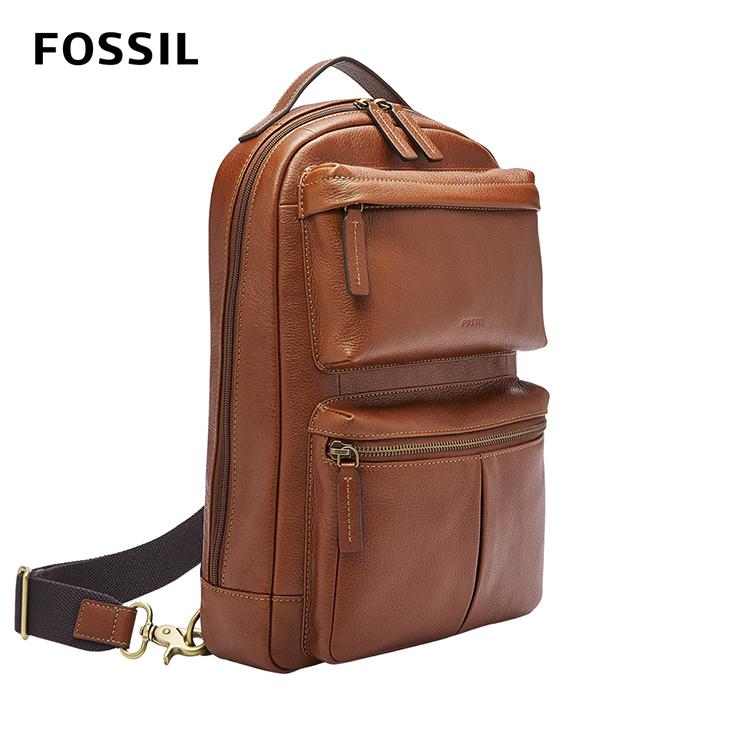 【FOSSIL】Buckner 多功能真皮單肩電腦包 (可入16吋筆電)-干邑色 MBG9444222