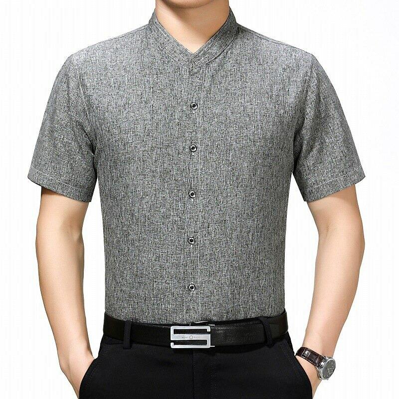 2021夏季新品男士商務休閒短袖男士襯衫純色簡約立領棉麻上衣