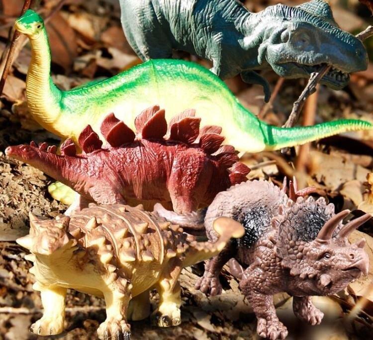 樂天精品 電動玩具 恐龍玩具男孩兒童套裝仿真動物超大軟塑膠模型小三角龍霸王龍