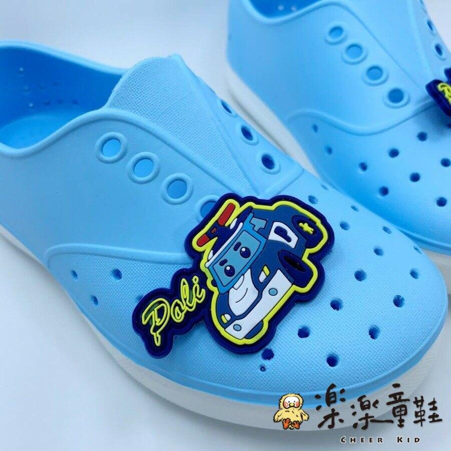 【樂樂童鞋】台灣製POLI安寶洞洞鞋-藍色 - 女童鞋 男童鞋 涼鞋 休閒鞋 大童鞋 小童鞋 洞洞鞋 沙灘鞋 POLI 波力 救援小隊