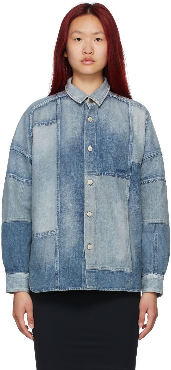 Ambush 蓝色拼布牛仔衬衫