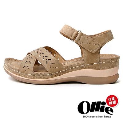 Aviator韓國空運-純色燒花造型魔鬼沾厚底楔型涼拖鞋-米-OLLIE預購+現貨