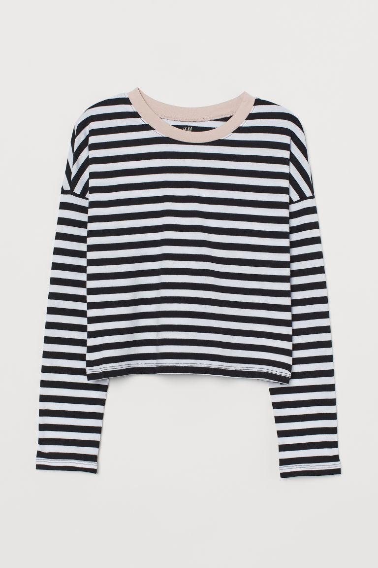 H & M - 方形剪裁平紋上衣 - 黑色