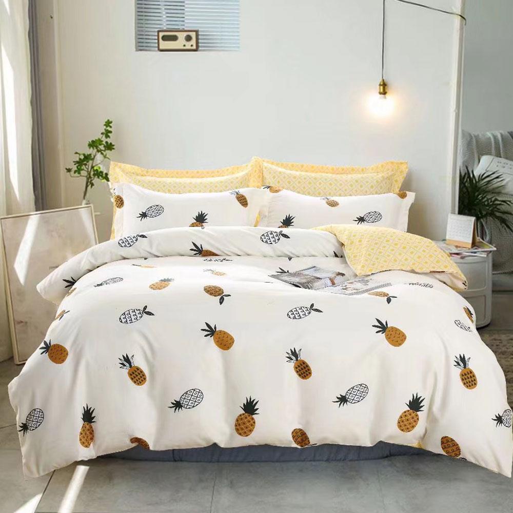床包被套組(薄被套)-雙人加大 / 舒柔棉四件式 / 鳳梨水果茶