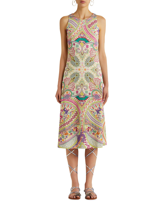Dragon-Print Jersey Midi Dress