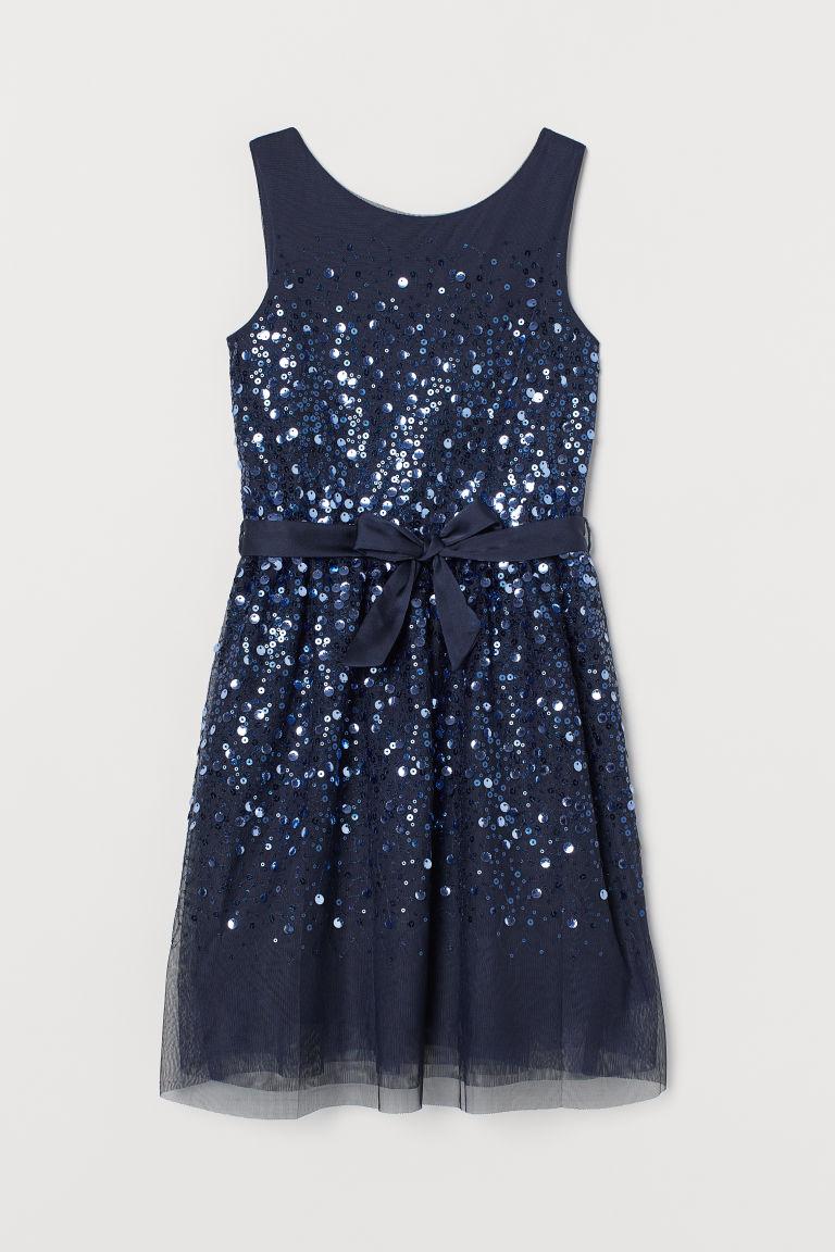 H & M - 亮片薄紗洋裝 - 藍色