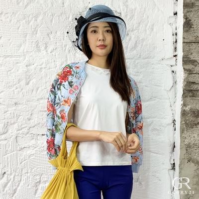 【GLORY21】真珠造型亮鑽綁帶棉T恤-白色