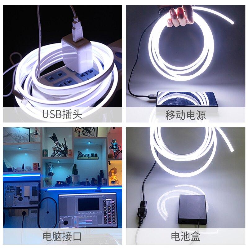 led霓虹燈 led可充電式usb燈帶5v低壓超亮電池款氛圍霓虹軟燈帶條不插電無線『XY20911』