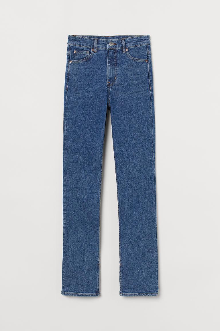 H & M - 貼身高腰牛仔褲 - 藍色