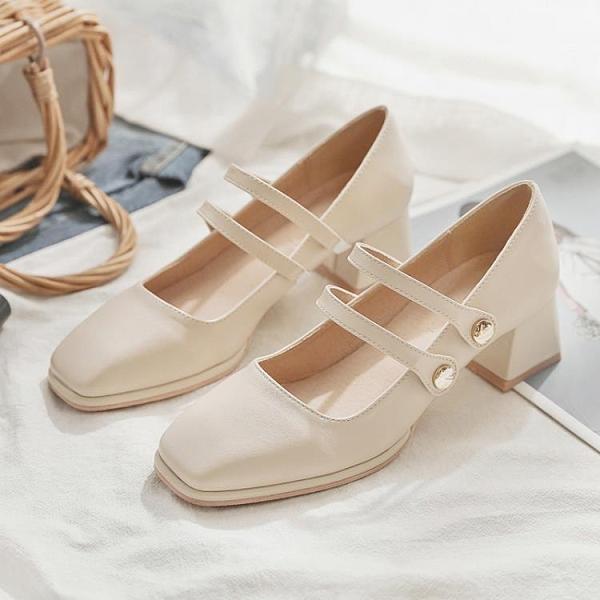 單鞋女秋季新款一腳蹬中跟粗跟復古淺口方頭百搭瑪麗珍女鞋 格蘭小鋪