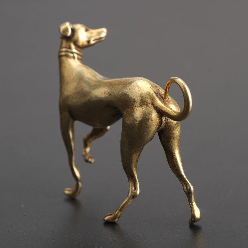 銅十二生肖狗擺件 實心純銅金狗旺財手把件站立小狗銅狗小擺件