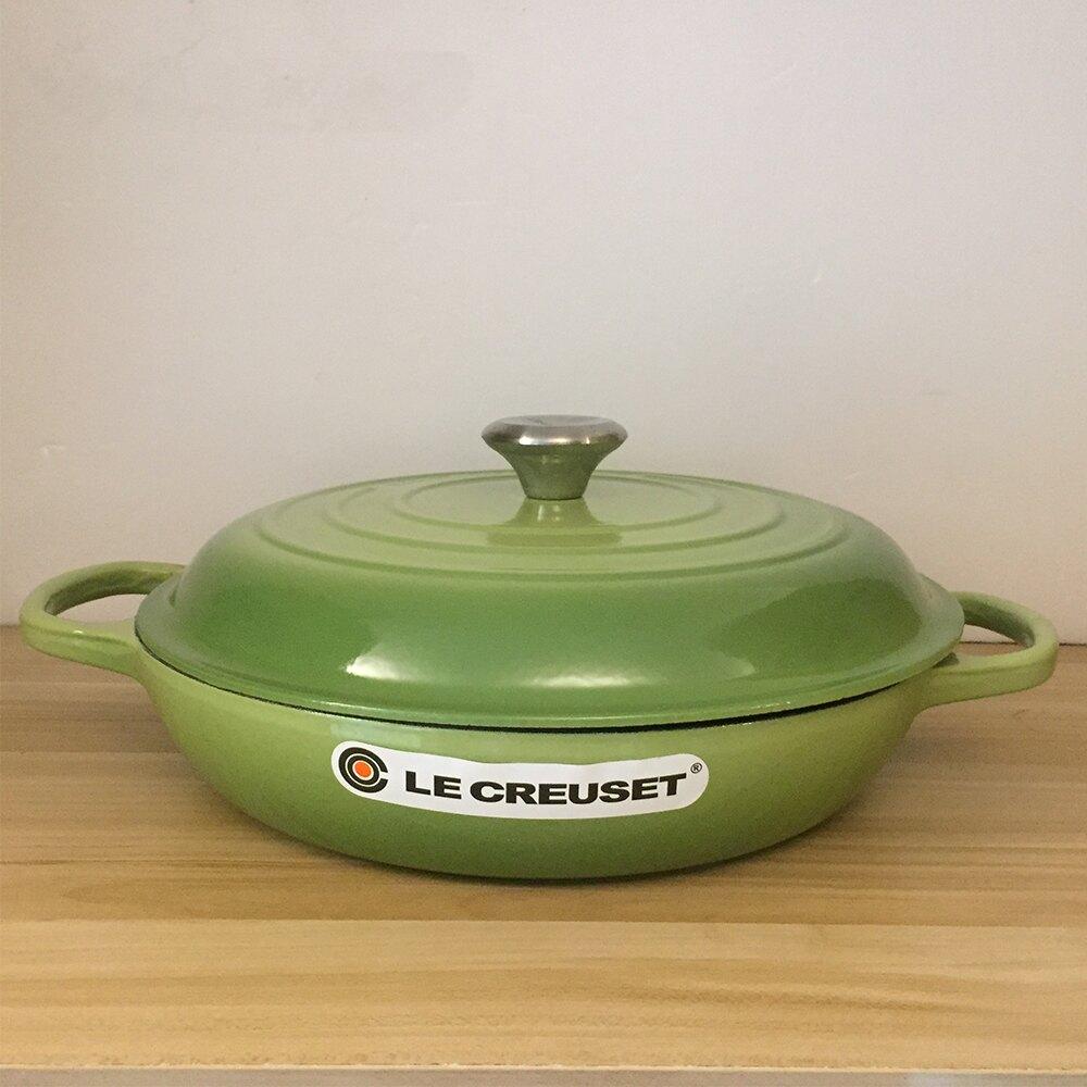 Le Creuset 新款壽喜燒琺瑯鑄鐵鍋 湯鍋 燉鍋 淺底鍋 30cm 3.5L 棕櫚綠 法國製【福利品】