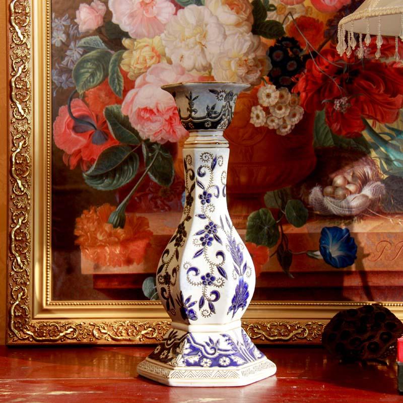 青花瓷燭臺 中式家居裝飾 陶瓷燭臺手工雕花燭臺陶瓷燭臺燭光晚餐