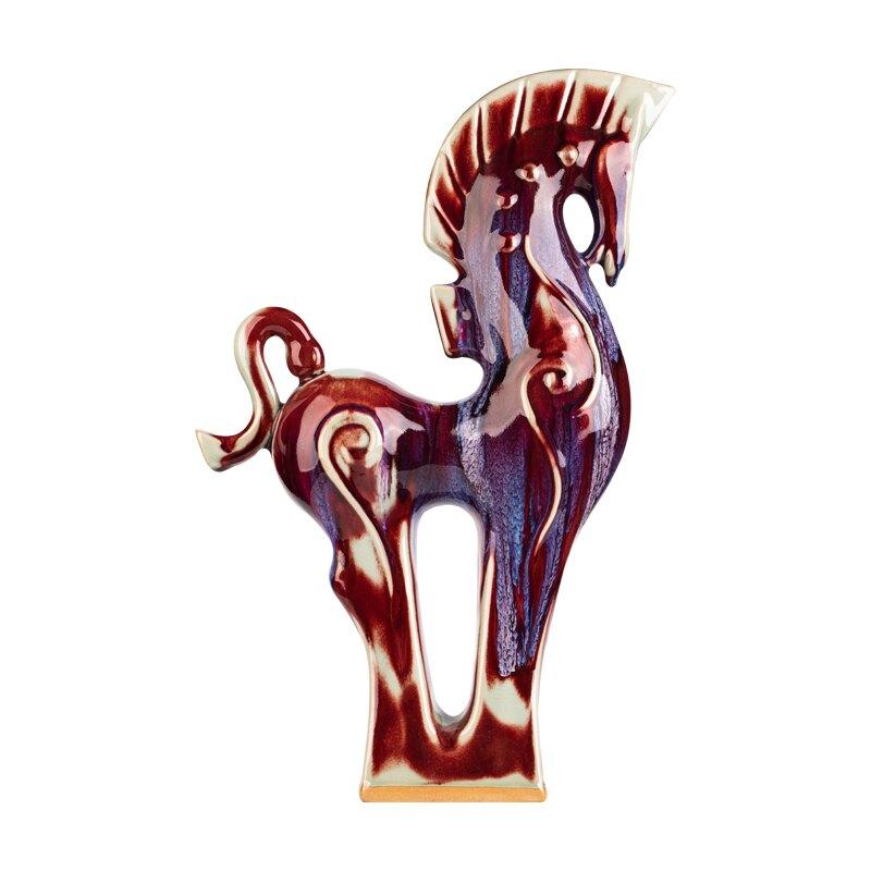 陶瓷馬擺件新中式客廳書房書架博古架裝飾工藝品工藝擺設品辦公室