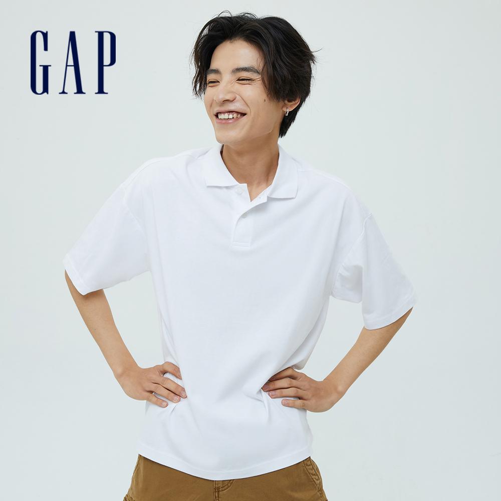 Gap 男裝 厚磅密織系列復古休閒寬鬆純棉POLO衫 697680-白色