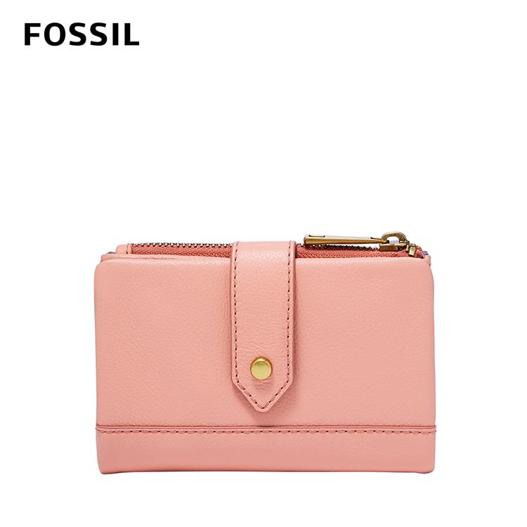 【FOSSIL】Lainie 含零錢匣扣帶短夾-珊瑚橘粉 SWL2061652