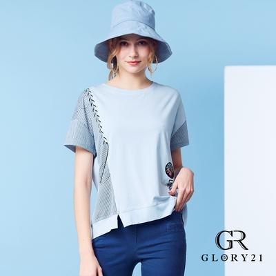 【GLORY21】條紋素面拼接球圖騰上衣-藍色
