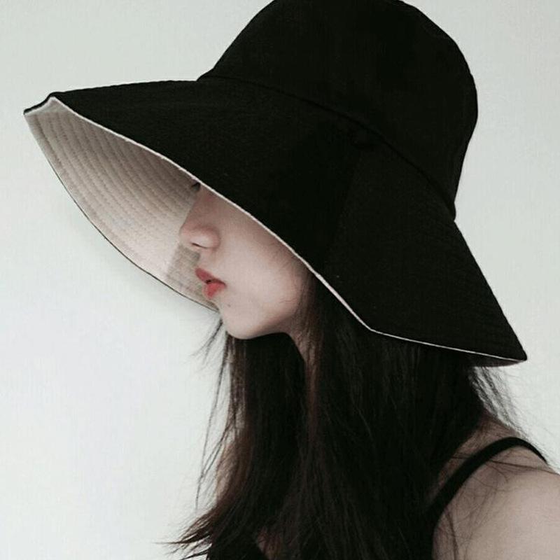 網紅漁夫帽盆帽女 韓版氣質款洋氣綁帶防曬雙面大簷遮陽帽 遮臉女夏季潮太陽帽素顏遮臉 女士帽子