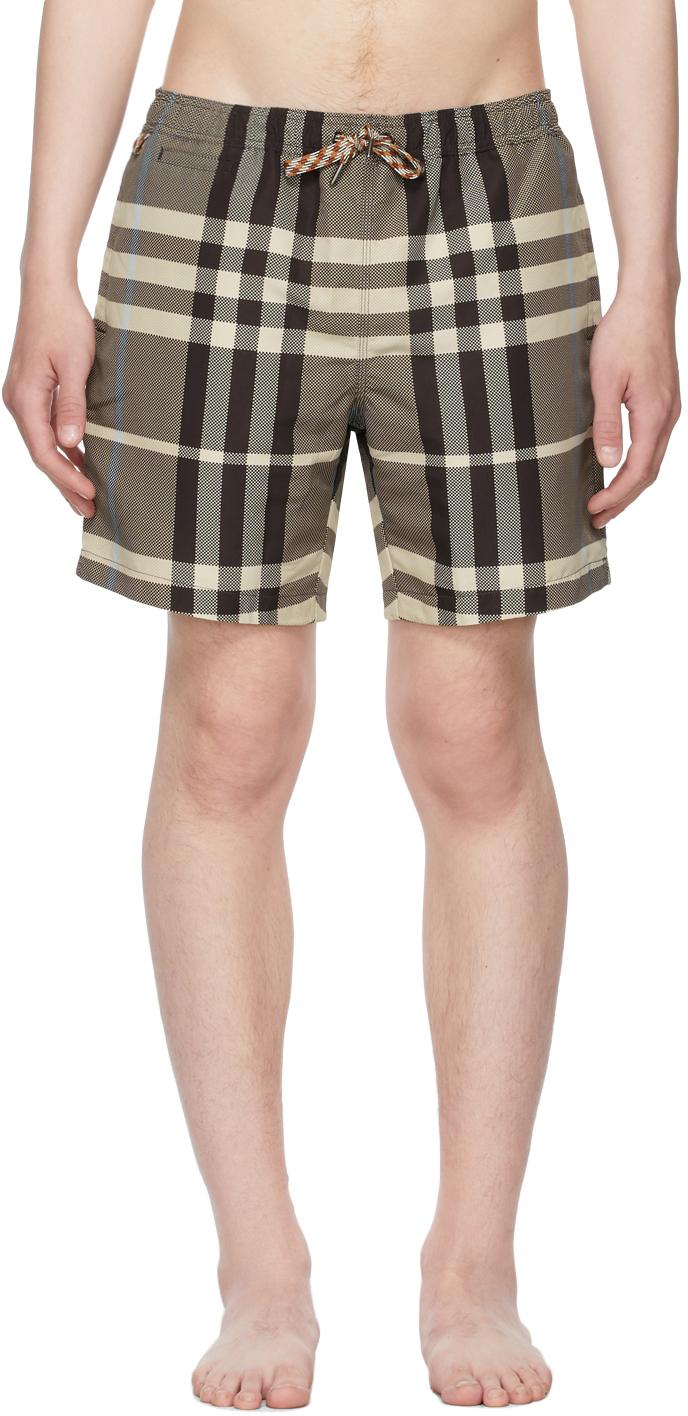 Burberry 棕色格纹抽绳泳裤